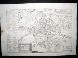 De Fer 1724 Folio Antique Map. Plan of Paris